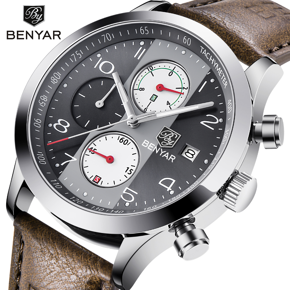 Men Sport Watches Quartz Chronograph Waterproof Watches Male Watch Clock Men  BENYAR
