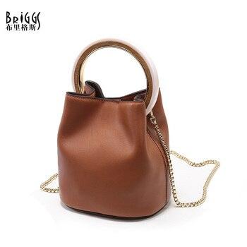 BRIGGS Top Genuine Leather Lady Handbags Fashion Shoulder Bag Chains Crossbody Bag Women Handbags Luxury Brand Top-handle Bags zipper chains lock crossbody bag