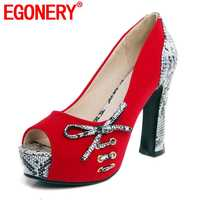 EGONERY ファッションブランド蛇パターンレディースパンプス夏の春の蝶ノットセクシーなパーティーの女性スーパーハイヒールの結婚式靴