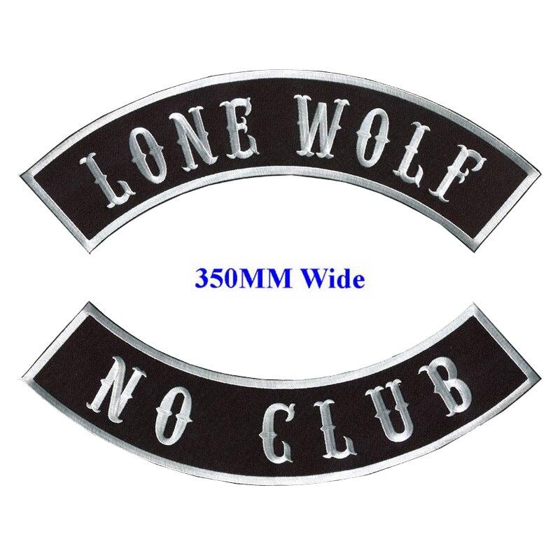 LONE WOLF PATCHES SET NO CLUB BLACK /& WHITE MOTORCYCLE BIKER VEST JACKET