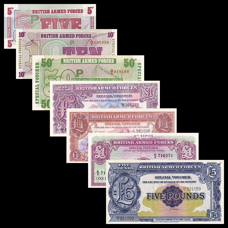US $22 59 |UK Great Britain set 7 pcs ( 5 Pence 5 Pounds ) Military notes ,  UNC world europe note collectables-in Non-currency Coins from Home &