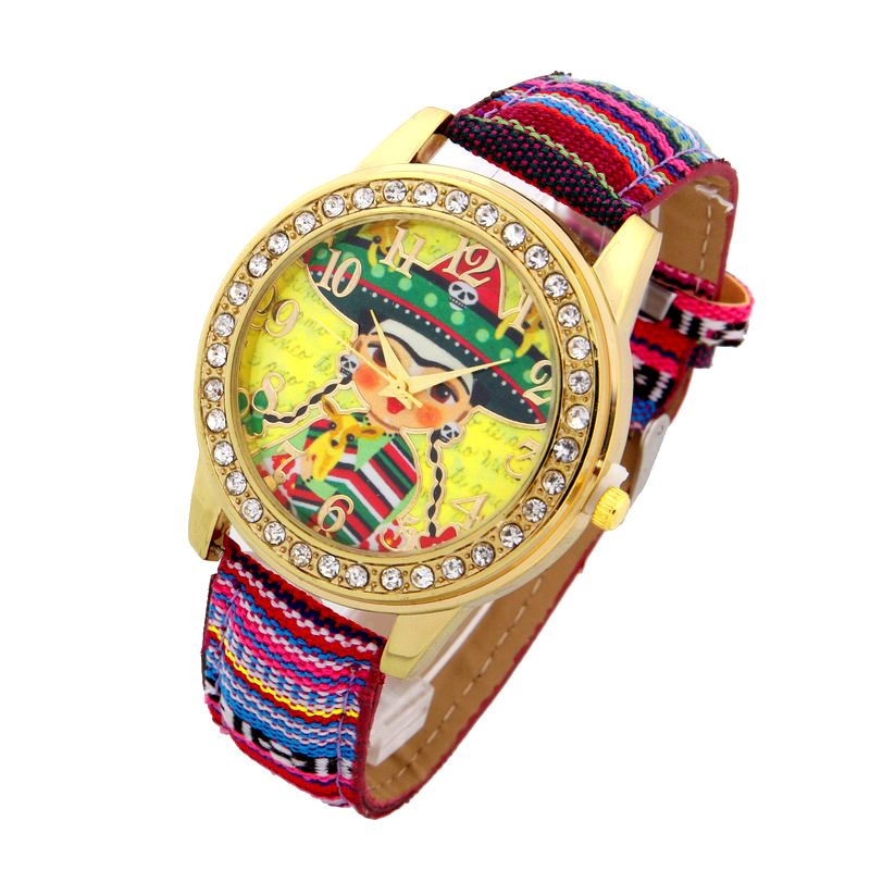 Top Ethnic Watch Women Frida Mexican Adelita PU Leather woman wristwatch casual accessories Geneva Style school student top ethnic watch women frida mexican adelita pu leather woman wristwatch casual accessories geneva style school student