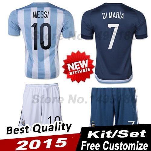 Copa America 2015 ARGENTINA Soccer set kit MESSI DI MARIA ARGENTINA  camisetas de futbol 2015 Jersey Home Away uniform 9e30a92b361d5