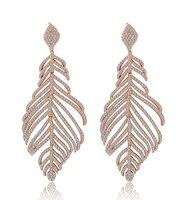 Neue Klar Mirco Pflastern Blatt Weiß Gold farbe Wassertropfen Baumeln Ohrring, Great Design Zirkonia Fashion Ohrring