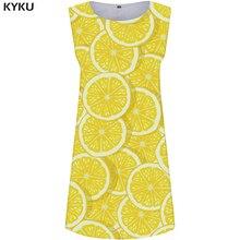 KYKU Lemon Dress Women Yellow Fruit Office Dresses Ladies Harajuku 3d Printed Sundress Sexy Casual Womens Clothing Korean Style