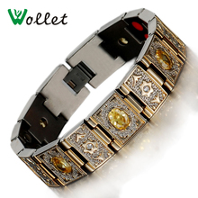 Wollet Jewelry Health Care Gold Color Yellow Crystal 4 in 1 Bio Magnetic Gemanium Infrared Negative Ion Titanium Bracelets Men