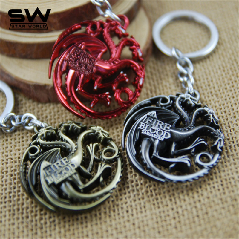 STARWORLD Movie Series Key Chain Game of Thrones Family Badge Round Hollow Keyring Keychain souvenir Fashion Key Chain Holder