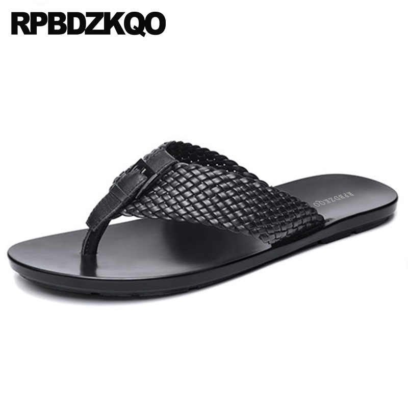 4fd20f9833e88f Summer Slides Sport Designer Shoes Men High Quality Native Fashion Woven  Open Toe Leather Slippers Sandals