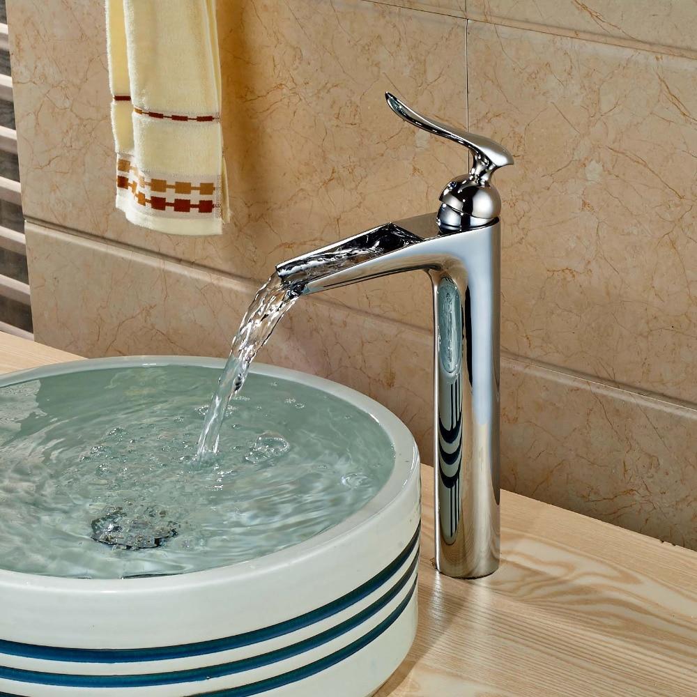 Taller Waterfall Spout Chrome Brass Bathroom Basin Facuet Single Handle Vanity Sink Mixer Tap