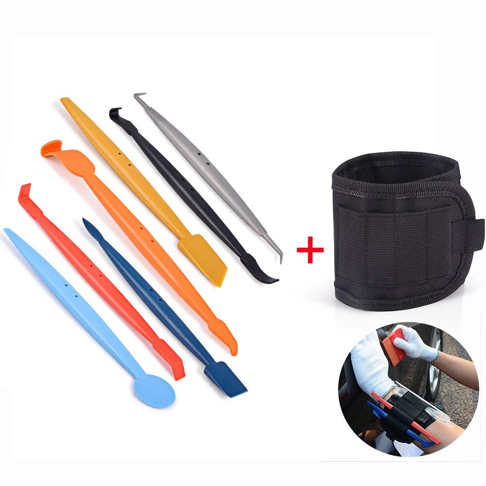 FOSHIO 8 pièces voiture outils fenêtre teinte vinyle pellicule de film magnétique raclette Kit + bracelet sac voiture autocollants autocollants emballage outils de style