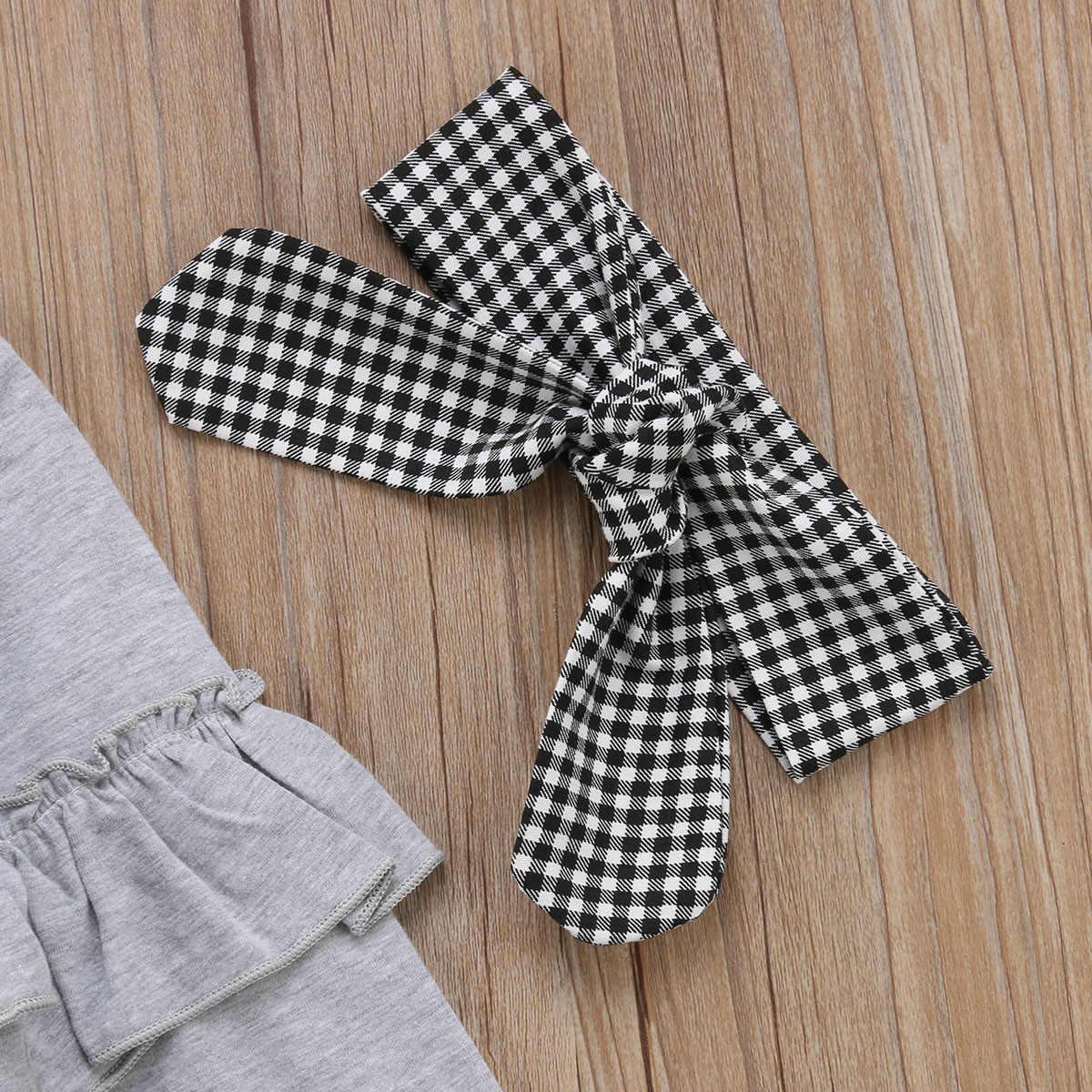 956c9354a924c ... Toddler Kids Baby Girl Outfits 3PCS Ruffle Long Sleeve Tops+Plaid Pants  Leggings+Headband ...