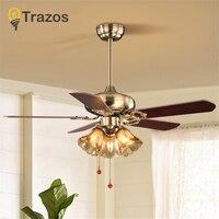 TRAZOS Village Wooden Ceiling Light Fan Wood Pull rope Decorative Ceiling Fans Grass Lampshade Fan Lamp Ventilador De Techo