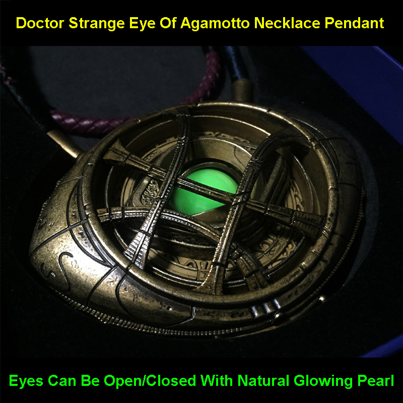 Le docteur vengeur étrange oeil d'agamotto collier pendentif figurine à collectionner 1:1 modèle jouet cadeaux d'anniversaire pour hommes enfants