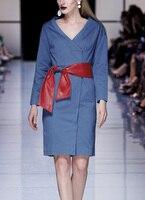Видеть оранжевый красный Пояса ковбойский синий платье Для женщин Весна Глубокий v образным вырезом с длинным рукавом платье ПР Повседневн
