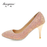 Fanyuan Women Pumps Bling High Heels Women Pumps Glitter Sexy Pointed toe Shoes Woman Sexy Wedding Party Shoes size 32 43