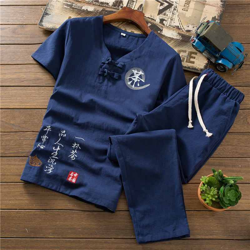 2019 Summer Men Two Piece set Cotton and Linen Short Sleeve Men tshirt with Ankle Length pants S 5XL