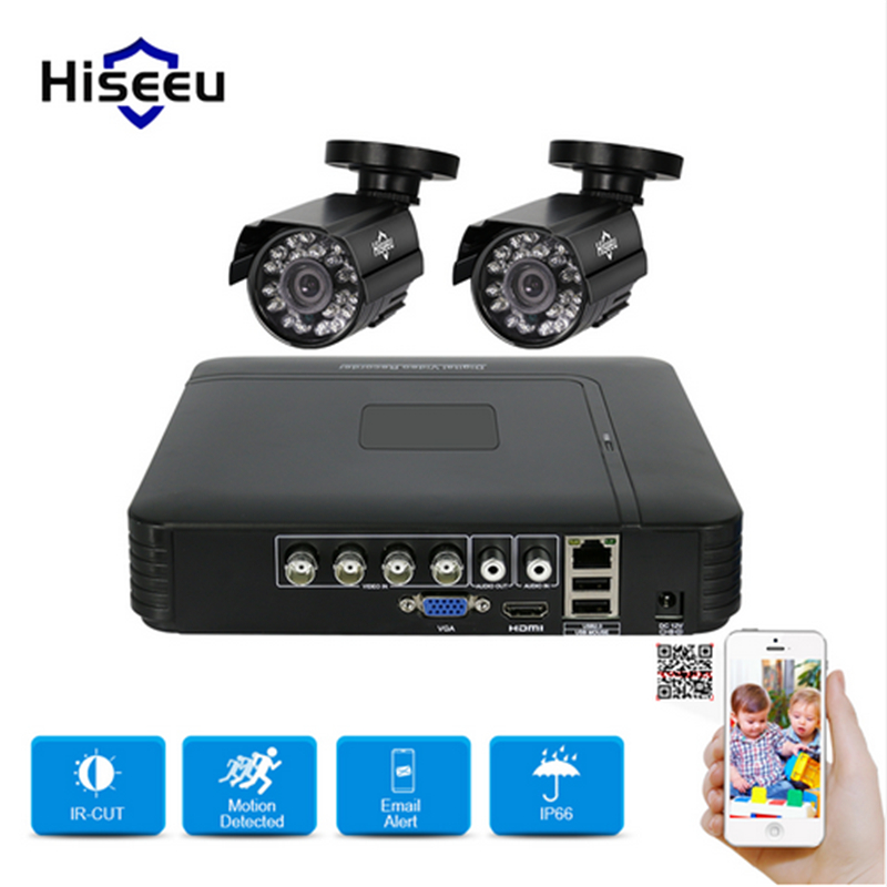 hiseeu CCTV System HD 2CH 1080N 5in1 AHD DVR Kit 2Pcs 720P AHD Outdoor waterproof/Bullet IR Camera P2P Security Surveillance Set cnhidee home security camera system nightvision ahd 8ch 720p ir 1200tvl dvr hd kit video surveillance system 8ch outdoor kit set