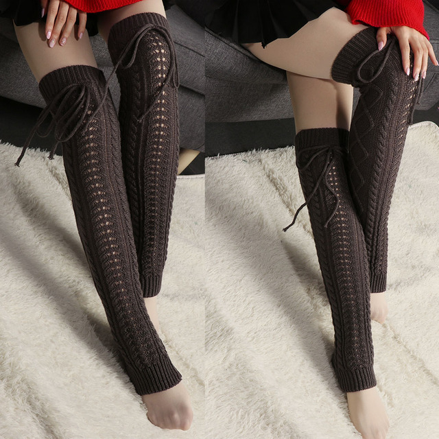 ef76e195368 Winter Knitted Crochet Knee High Long Stocking Women Sexy Thigh High  Stocking Stay Up Leg Warmers