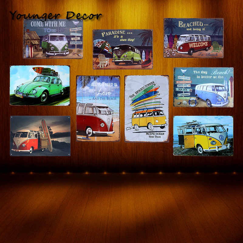 Paradise Beach VW Bus Tin Sign Famous Car Brand Art Wall Decoration Bar Pub House Hotel Garage Metal Painting Retro Plaque
