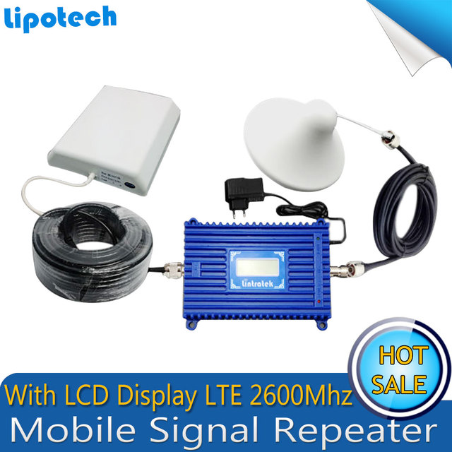 Full Set Gain 70dB 4G LTE 2600mhz Cell Smart Phone Signal Booster Repeater Mobile Signal Cellular Amplifier With LCD Display