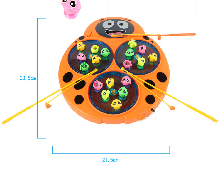 Fancy Electric Music Plate Beetle Fishing Toys Play Educational Battery Operated Unisex Electronic Mouse Plastic