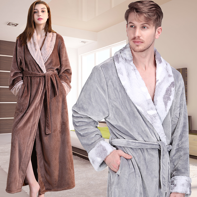 Men Winter Thermal Plus Size Extra Long Thick Grid Flannel Bathrobe Mens  Zipper Warm Bath Robe Dressing Gown Male Luxury Robes db85d44fa