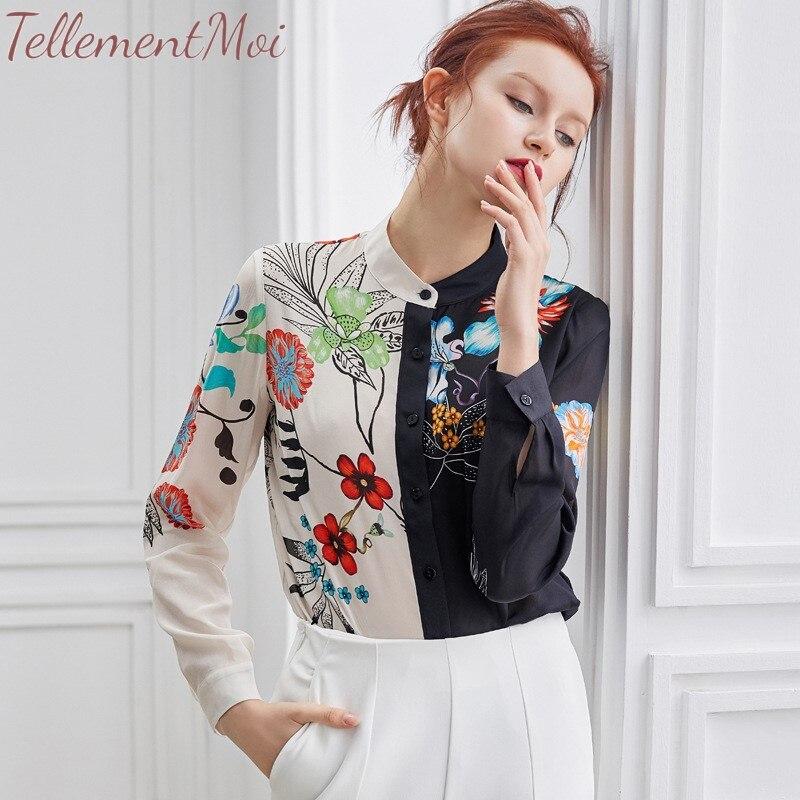 Femmes Blouse chemise 100% soie à manches longues Blouses contraste imprimé chemises décontractées amples hauts Chemisier Femme Blusas Mujer de Moda