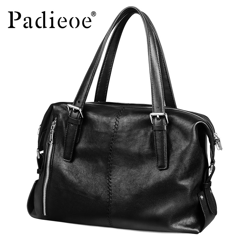 Padieoe Famous Brand Men Bag Genuine Leather Men Business Briefcase Leather Male Handbag New Fashion Men Casual Tote Bags padieoe men s genuine leather briefcase famous brand business cowhide leather men messenger bag casual handbags shoulder bags