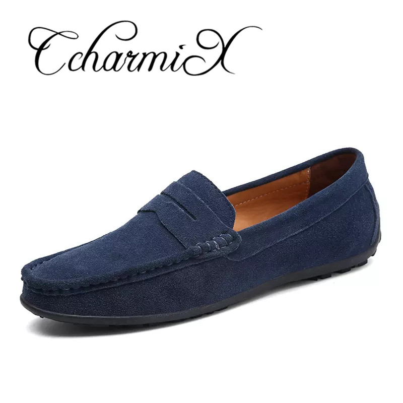 CcharmiX Suede Leather Slip On Men Loafers Mocassin 2018 Top Quality Fashion Men Penny Loafers Mens Flats Male Footwear Big Size