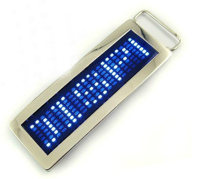 LED Belt Buckle Brand New Cool Personalized Programmable Scrolling LED Disco Belt Buckle Red & Blue