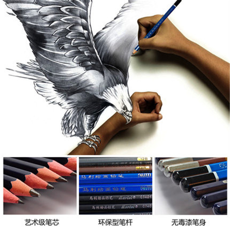 14B 12B 10B 8B 7B 6B 5B 4B 3B 2B B HB 2H Graphite Pencil Set Sketch Art Drawing Sketching Non-toxic Standard Pencils 26 38pcs sketching drawing pencil set 3h 2h h hb b 2b 3b 4b 5b 6b 7b 8b 9b with charcoal soft pastel pencils for art supplies