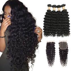 4 Связки натуральные волосы 100% плетение пучков с закрытием кружева бразильские волосы глубокая волна пучки с свободной частью закрытия не