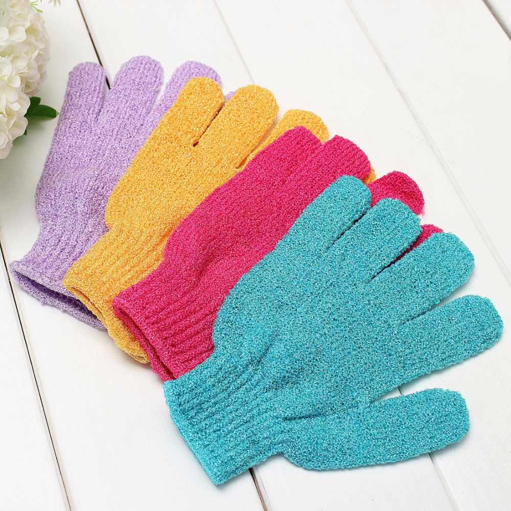 1 Pc Shower Bath Gloves Exfoliating Wash Skin Spa Massage Scrub Body Scrubber Glove 4Colors (Random Color)