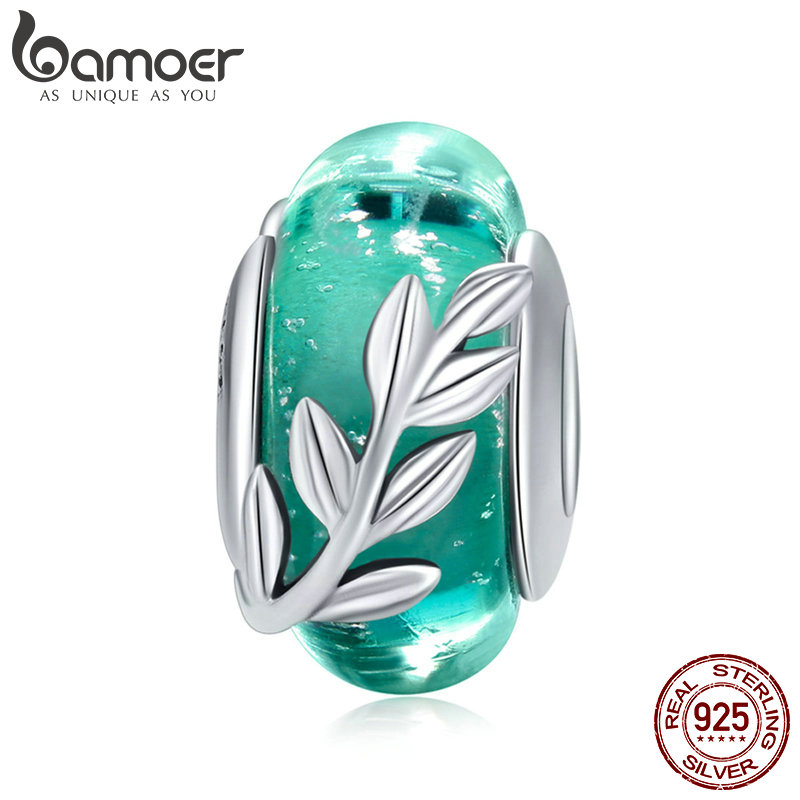 BAMOER Genuine 925 Sterling Silver Tree Leaves Green Leaf Murano Glass Beads Fit Charm Bracelets & Bangles DIY Jewelry SCC863