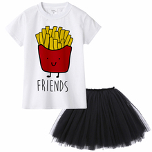Best Friends Printed Siblings Matching Girl's T-Shirt and Skirt Set