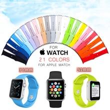 42 MM 38 MM Silicone Coloré Montre Bande avec Connecteur Adaptateur pour Apple Watch Strap pour iWatch Sport Boucle Bracelet 21 couleurs