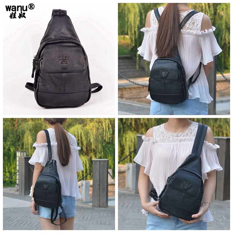 WANU 2017 High Quality Genuine Leather Backpack women black business travel bag Girl MS good cowhide
