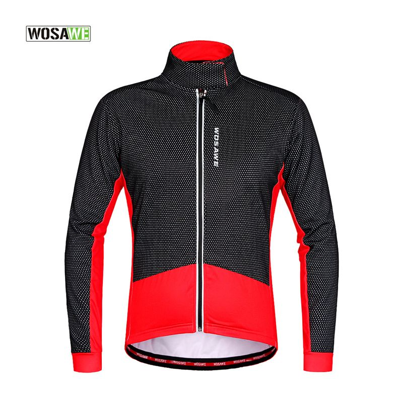 WOSAWE Fleece Thermal Warm Bicycle Jacket Long Sleeve MTB Road Bike Cycling Coat Autumn Winter Windproof Outerwear Tops  wosawe outdoor sports windproof winter long sleeve cycling jacket unisex fleece thermal mtb riding bike jersey men s coat