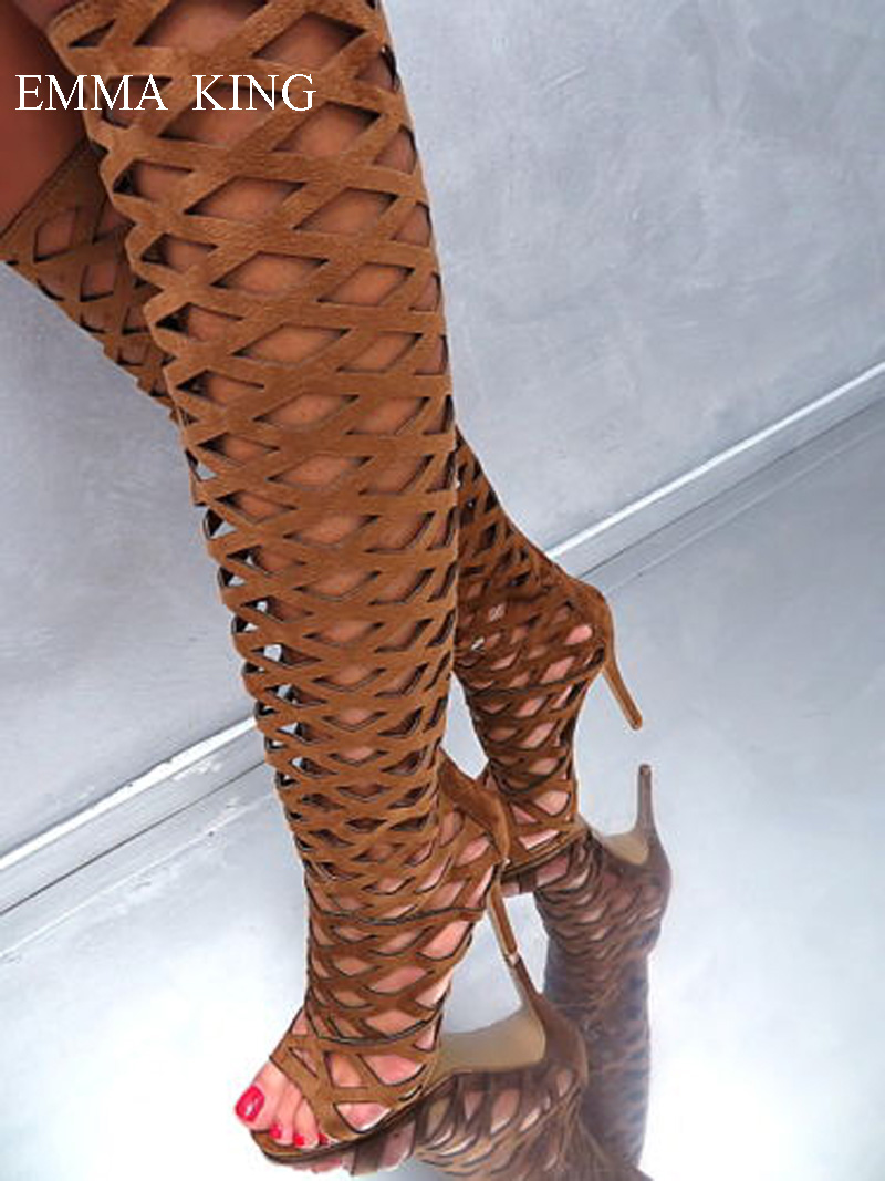 2019 Brown Long Boots Ladies Luxury Knee High Boots Back Zipper Open Toe Cut outs Knight Boots Women Shoes Stiletto High Heels2019 Brown Long Boots Ladies Luxury Knee High Boots Back Zipper Open Toe Cut outs Knight Boots Women Shoes Stiletto High Heels