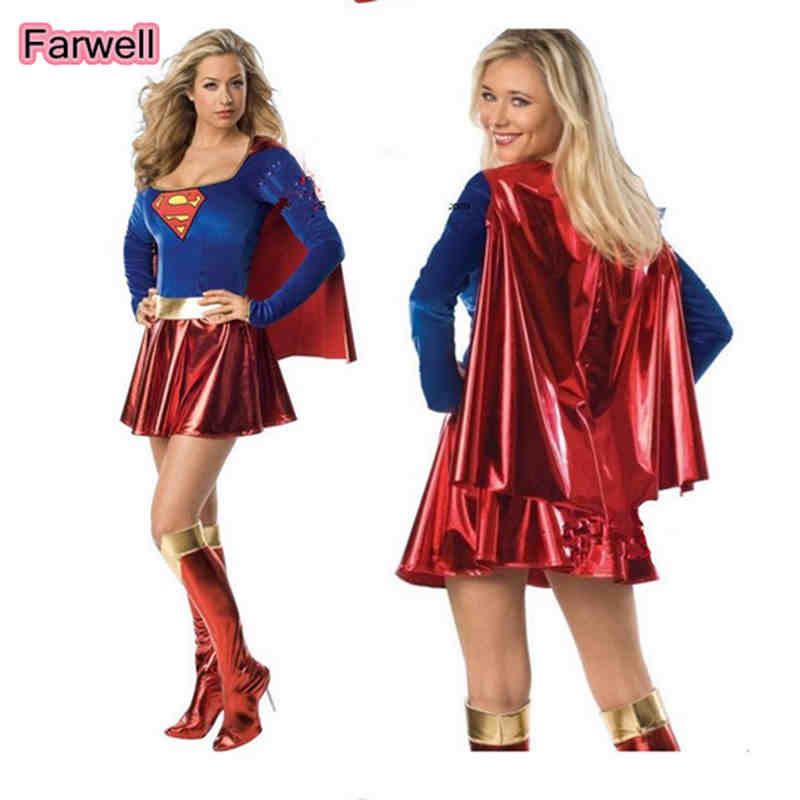 Adult Sexy Fancy Dress Supergirl Costume Woman Superhero Cosplay Female Superman Costumes Girls Cosplay Party Gown Clothing new