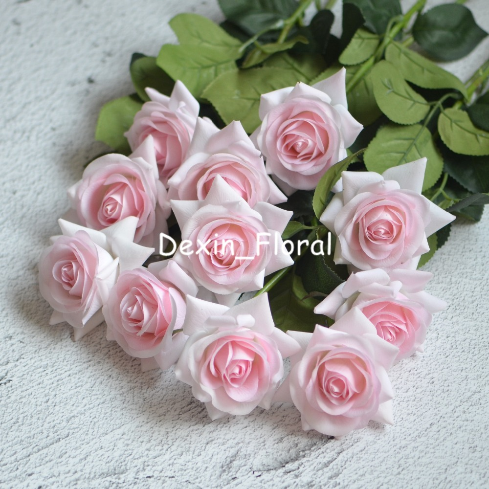 Light Pink Rose Real Touch Silk Roses Diy Silk Bridal Bouquets