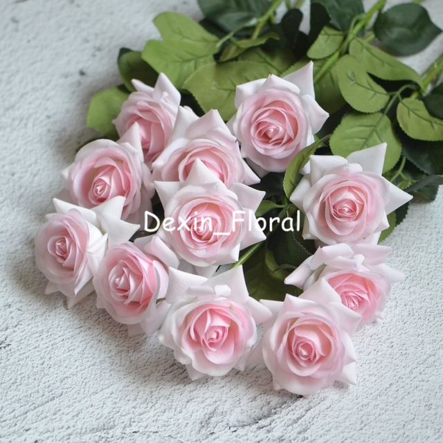 Light Pink Rose Real Touch Silk Roses Diy Bridal Bouquets Wedding Centerpieces Home Flowers Party Accessory