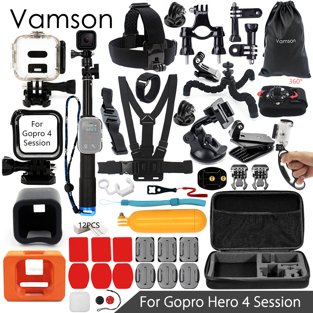 vamson for gopro 4 session accessories super kit. Black Bedroom Furniture Sets. Home Design Ideas