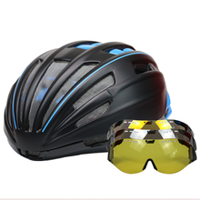 Glasses Cycling Helmet Road Mountain MTB Goggles Bicycle Helmet Ultralight Double Layers Casco Ciclismo Bike Helmet 55-61 CM