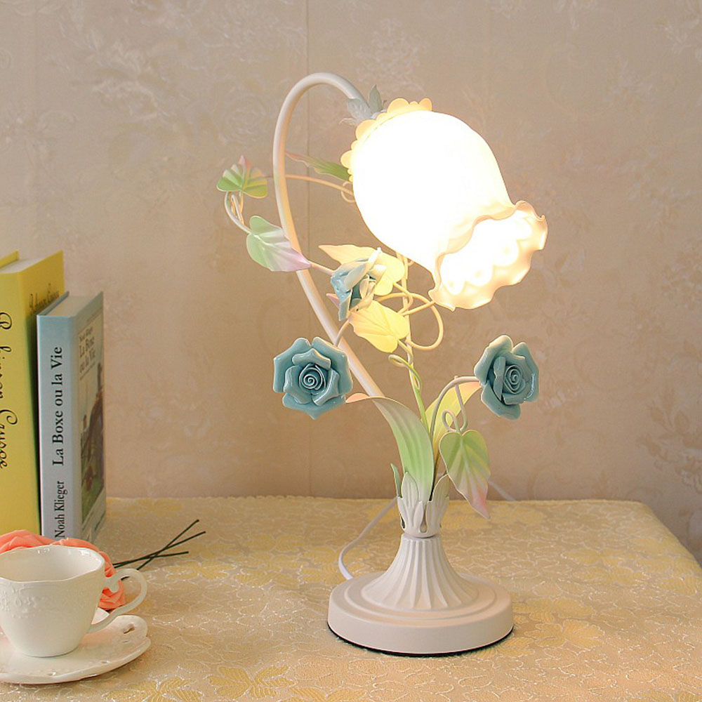 Blue Desk Lamp 110-220v Contemporary Flower Table Lamps E27 Modern Simple Touch Switch Button Table Light Luminaria read room led lamp e27 table lamps study mini touch switch 110 220v contemporary green cloth desk lights luminaria
