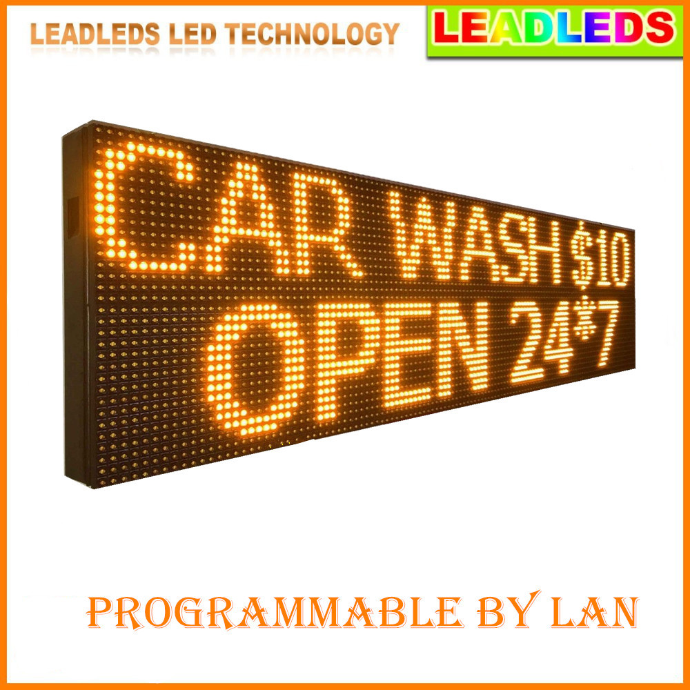 76inch P10 Outdoor Waterproof Programmable LED SIGN 24h Yellow Color Mobile And Fixed Advertising  Message Led Display Board