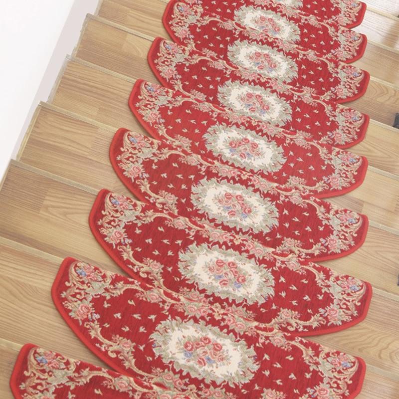 13PCS/lot Stair Carpets Set Non-Slip Nordic Stair Tread Mats Hotel Home Step Pad Rug Silicone Bottom Glue-free Self-Adhesive