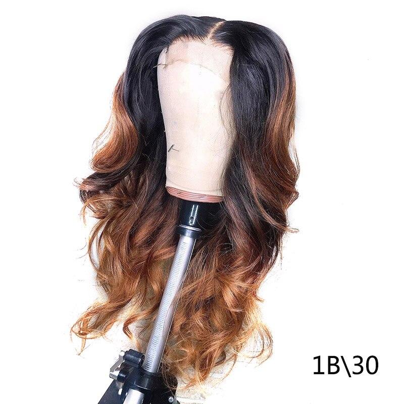 1B/27 Кружевные передние человеческие волосы парики с детскими волосами волнистые предварительно сорванные Омбре цвет бразильские волосы remy парики для женщин отбеливатель узлы - Цвет волос: 1b 30