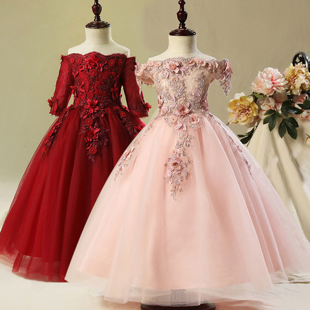 Flower Girl Bead Decoration Long Dress 2019 New Girl Wedding Party Exchange Dress Ball Beauty Sexy Shoulder Dress