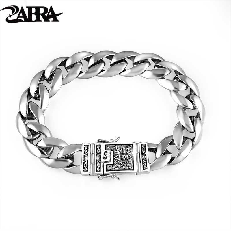 3b5261ada29f ZABRA 925 Real de plata de la pulsera de los hombres de 12mm de ancho suave